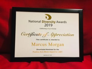 Certificate from the National Diversity Awards honouring Marcus Morgan as an LGBT Role Model